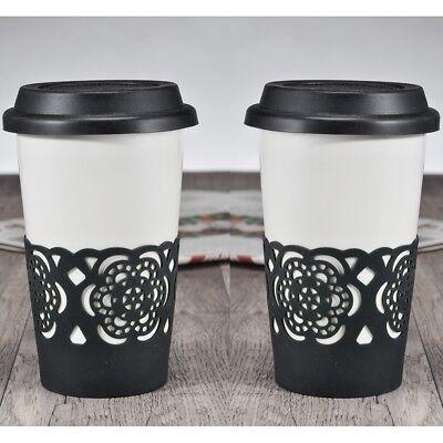 Franco 2x Auto Coppa Bicchiere Potabile Tazza Da Caffè Di Ceramica Con Velluto Nero Coperchio In Silicone-