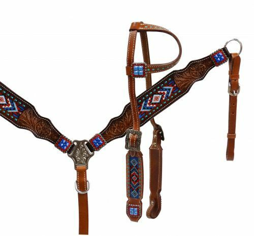 Showman rosso bianca blu Beaded Leather Bridle Headstall Breast Collar Reins 13532