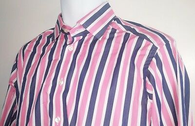 ETON Dress Shirt BOLD Stripes French Cuffs Blue Pink White - Men's 15.5