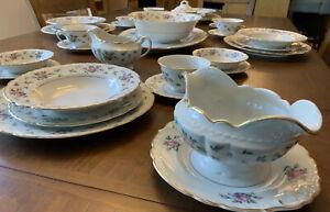 Vintage-Princess-China-Tru-Tone-USA-SWEET-BRIAR-Dinnerware-Set-33-Pcs-Svc-For-4