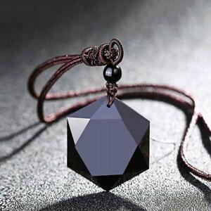 Frauen-Maenner-Halskette-schwarz-Obsidian-Stein-Anhaenger-Schmuck-Pullover-Super