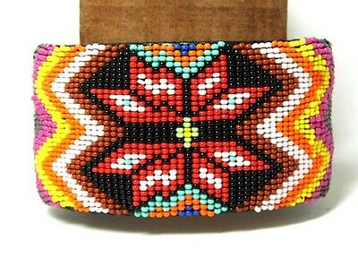 "Beaded Cuff Bracelet 2"" W x 8"" L Leather Backed Adjustable FREE SHIPPING #05"
