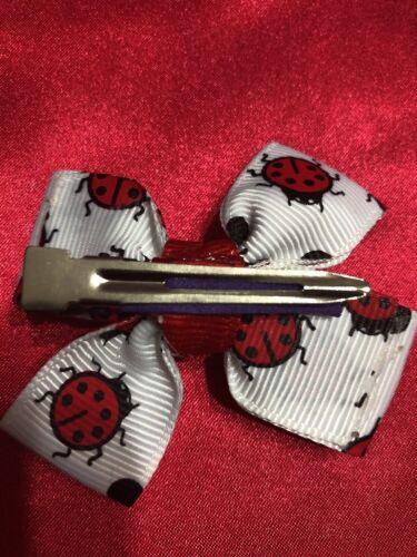 """New Lady Bug 2/""""  Plus Magic Baby Hairbow machine Washable USA SELLER"""