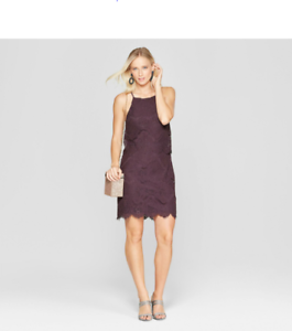 Womens Strappy Allover Lace Dress Purple NWT Xhilaration