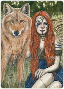 Fantasy-Art-ACEO-PRINT-Wolf-Shaman-Woman-Red-Hair-Celtic-Nature-Animal-Kindred