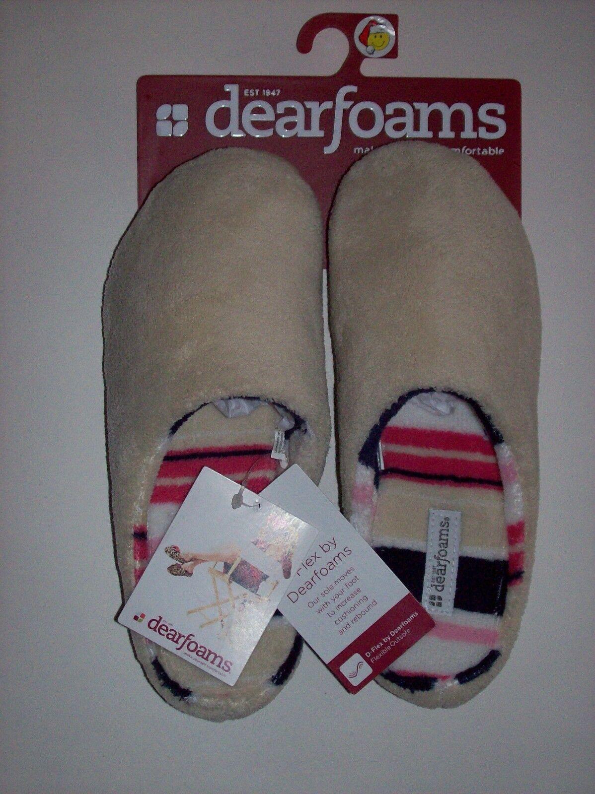 Dearfoams Slippers D-Flex Womens Striped Plush Slip On Backless Cushioned NWT