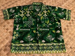 VINTAGE-HAWAIIAN-HOLIDAY-GREEN-TAPA-BORDER-PRINT-COTTON-ALOHA-SHIRT-MEDIUM