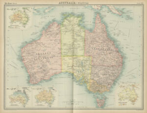 Map Of Australia Political.Details About Australia Political States Territories Vegetation Rainfall Times 1922 Map