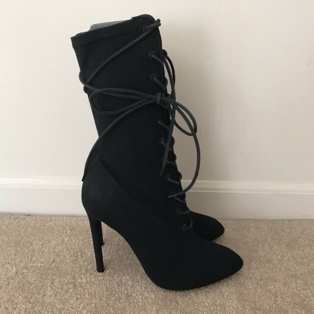 b19d9863675c Yeezy Season 4 Kanye West Canvas Lace Up Tie Ankle Boots Heels Shoes Black  35-