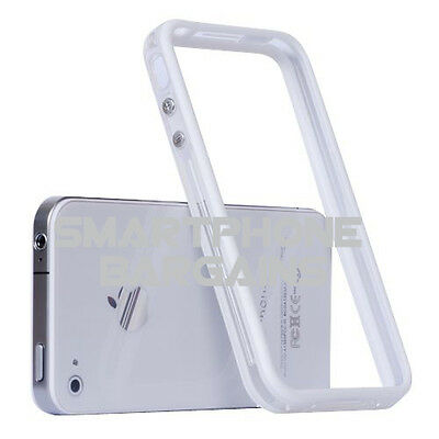 Clear TPU Silicone Bumper Frame Case Cover Skin W/ Metal Buttons for iPhone4 4S