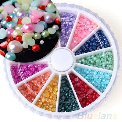 500Pcs Half Round Pearls Rhinestone 12 Colors 3D Nail Art Decoration 2mm B9CU
