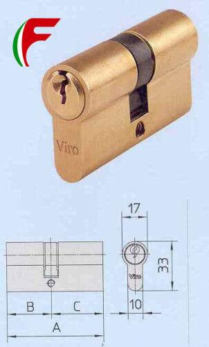 CILINDRO VIRO IN OTTONE ART 920.2 MM 60 MM 27+33 CON 3 CHIAVI