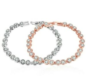 18K-White-Gold-Plated-Brilliant-3-mm-Round-Cubic-Zirconia-Tennis-Bracelet