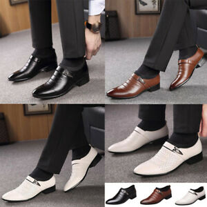 Men-039-s-Oxfords-Leather-Shoes-Casual-Pointed-Toe-Business-Dress-Formal-Office-Work