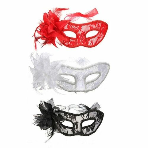 Venetian Feather Lace Flower Eye Mask Masquerade Ball Costume Party Fancy Dress