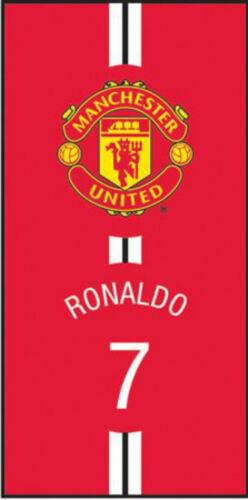MANCHESTER UNITED RONALDO 100/% COTTON BEACH TOWEL VINTAGE RED WHITE BLACK CREST