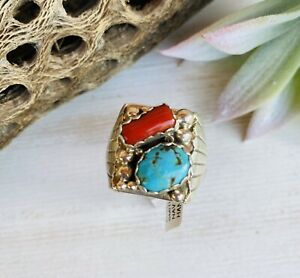 Native American Navajo Kingman Turquoise Coral Ring Sterling Silver Size 14