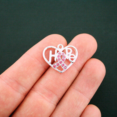 SC6209 2 Hope Awareness Ribbon Charms Silver Tone Heart Inset Pink Rhinestones