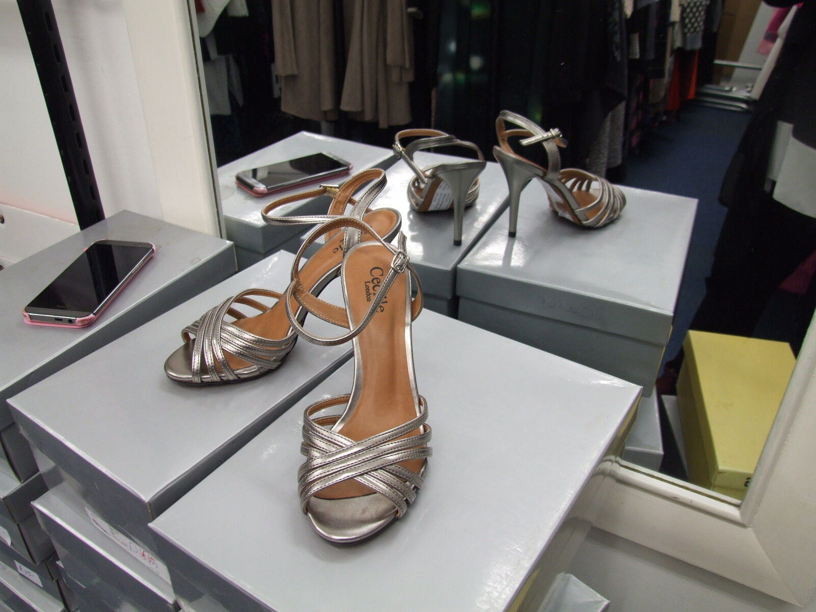Cecille London BNIB UK 4 Divine Strappy High Heel Pewter Eve Strappy Divine Sandals Shoes EU 37 3cdef7