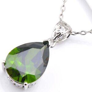 Birthday-Jewelry-Gift-Shiny-Oval-Cut-Green-Peridot-Silver-Drop-Necklace-Pendants