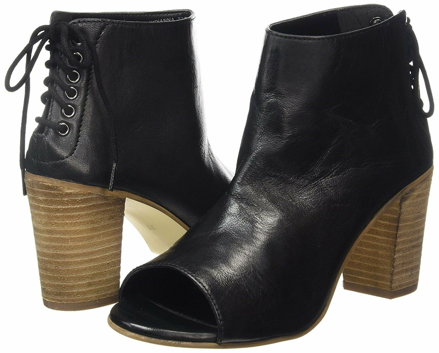 DUNE INDIANNA SIZE 3 36 BLACK REAL LEATHER MID HEEL ANKLE SHOE BOOTS  BNWB