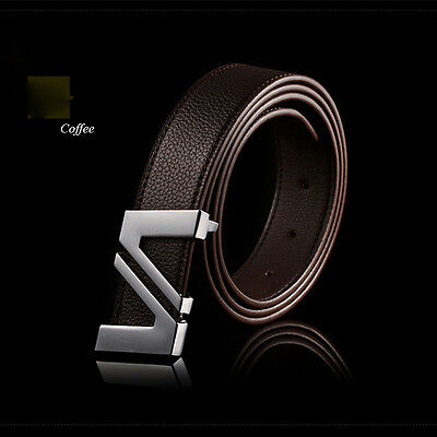 New Men's Casual Business Leather Belt Buckle Waist Strap  Automatic Classic GBP
