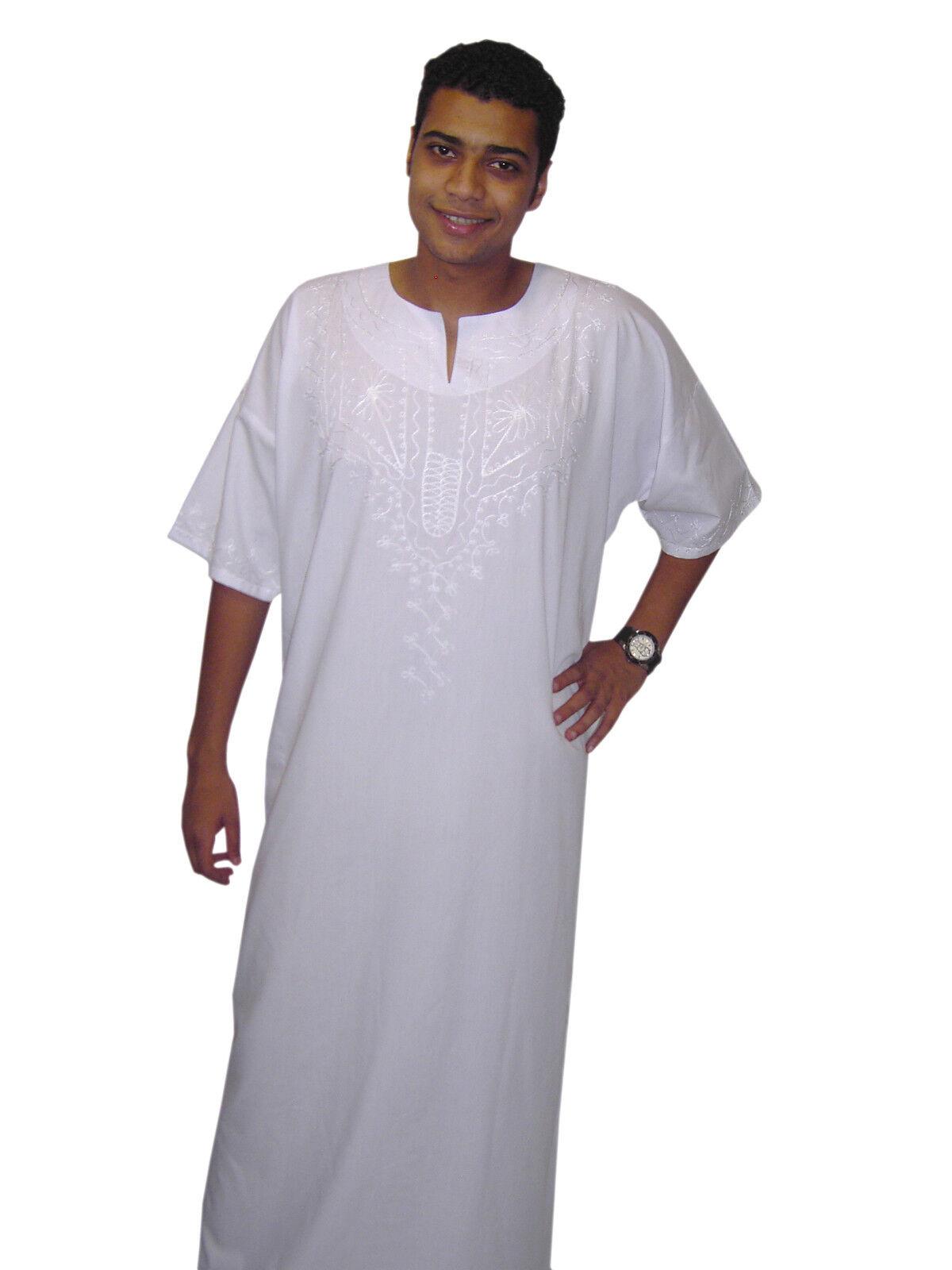 Modern Men's Caftan Housecoat Aus1001 Night in White - Kam00535