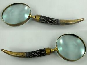 Optiker Lupeneinfassung Aus Messing Griff Aus Bein Ca27cm Lang,dm10cm /10 Lupe Aus Glas