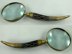 Lupeneinfassung Aus Messing Griff Aus Bein Ca27cm Lang,dm10cm /10 Augenoptik Lupe Aus Glas