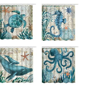Image Is Loading Sea Turtle Shower Curtains Waterproof Bathroom Curtain Ocean