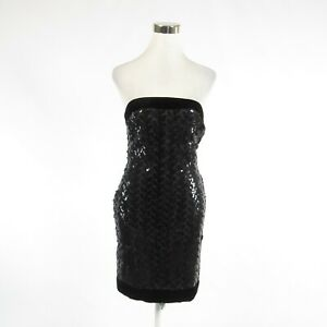 Black-gray-VICTOR-COSTA-FOR-BERGDORF-GOODMAN-sequin-strapless-sheath-dress-S