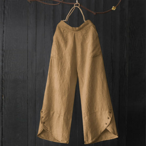 ZANZEA Damen Freizeit Lose Lange Hose Haremhosen Wide Legged Fashionhosen Pants