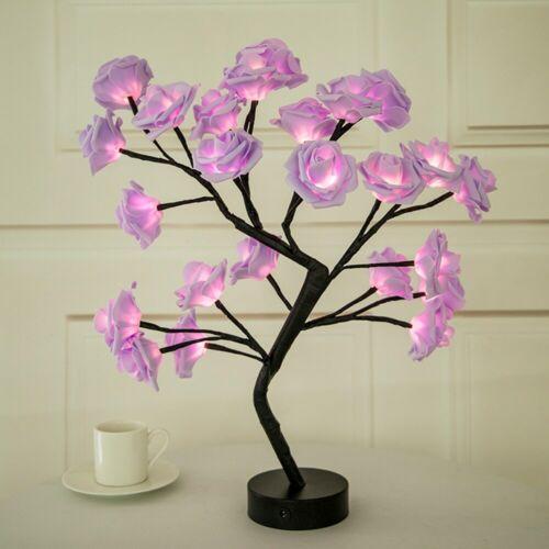 LED Table Lamp  Rose Flower  Bedside For Holiday Home Decor Desk