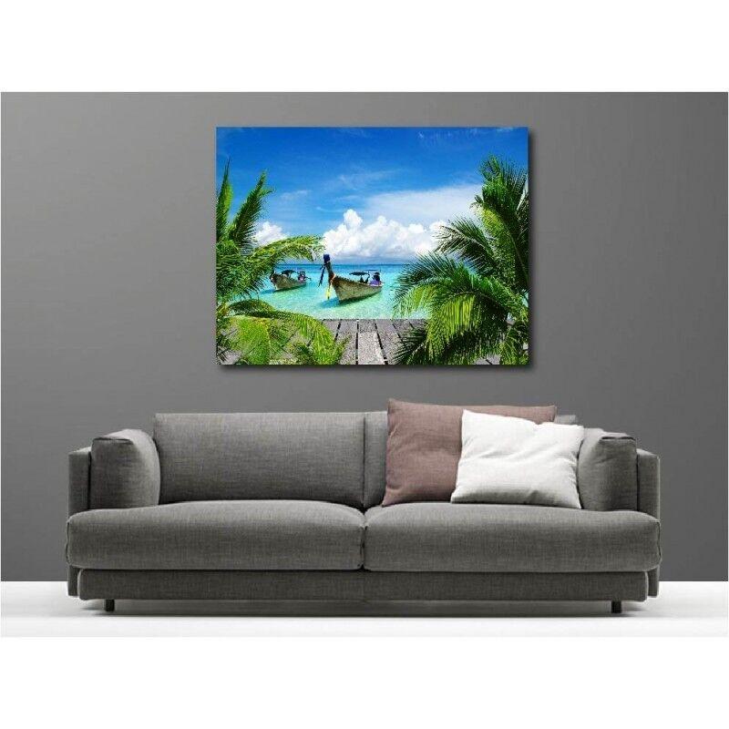 Canvas Fabric Deco Rectangle Barque Sea Turquoise 113613403