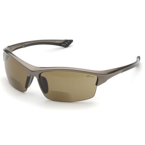 Bronze Frame Elvex Bifocal Safety Glasses with 2.0 Brown Anti-fog Lens
