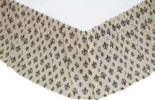 Queen Bed Skirt Elysee Black on Cream French Country Fleur-de-lis Dust Ruffle