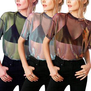 Women-Sheer-Mesh-Fish-Net-Short-Sleeve-Turtle-Neck-See-Crop-Top-T-Shirt-Blouse