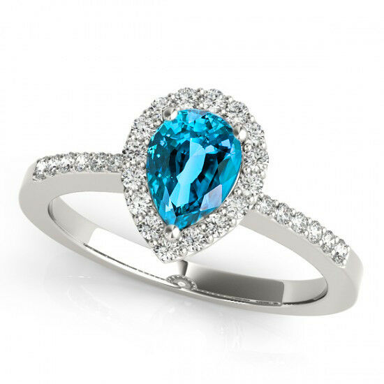 14k White gold 7x5 Pear Shape bluee Topaz and Diamond Engagement Ring (1.20ct t.w