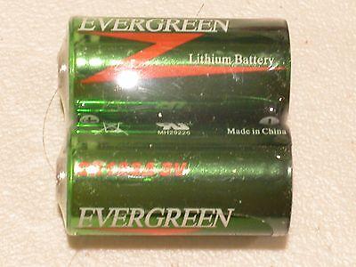 2 pc EVERGREEN CR123 CR 123 DL123 battery CR123A 17345 3v EXPIRE 06/2027
