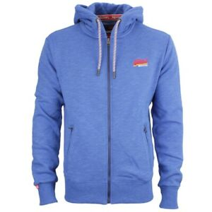 Details zu Superdry Herren Sweat Jacke Cali Orange Label blau meliert M20102AT ZM2