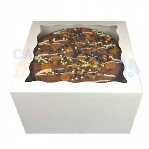 WHITE WINDOW GATEAUX BOXES CHEAPEST ON  CHOOSE YOUR QUANTITY AND SIZE