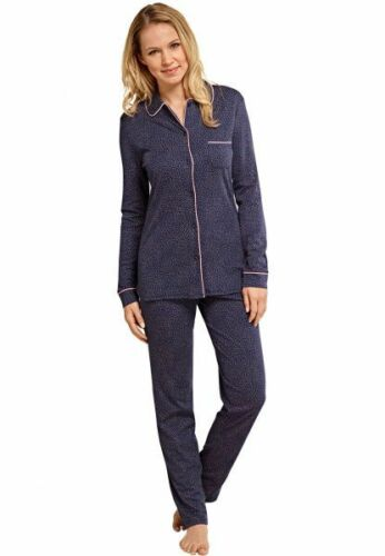 Cosy Nights Nachtblau Premium Schiesser Damen Schlafanzug lang