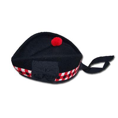 TC Scottish Piper Hat 100/% Pure Black Wool Glengarry Triple Diced