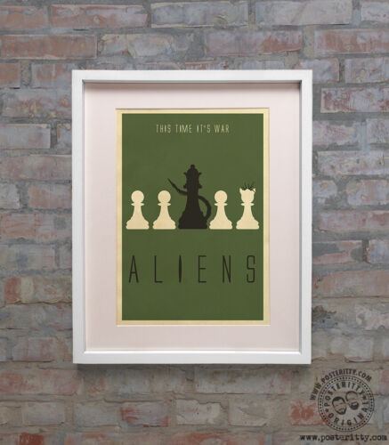 ALIENS Chess Minimalist Movie Poster Minimal Print by Posteritty 80/'s Art