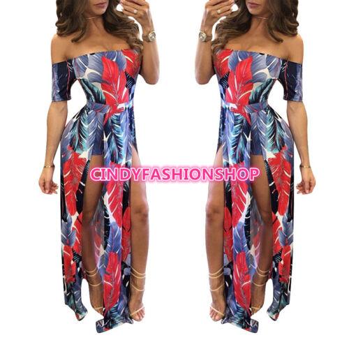 Casual Slash Neck Pattern Feather Slit Women Maxi Off the Shoulder Long Dress Y