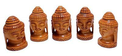A Set of 5 Hand Carved Wooden Meditating Lord Buddha Head Statue Size 2.3 inches