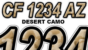 DESERT CAMO Custom Boat Registration Numbers Decals Vinyl - Vinyl letter stickers for boats