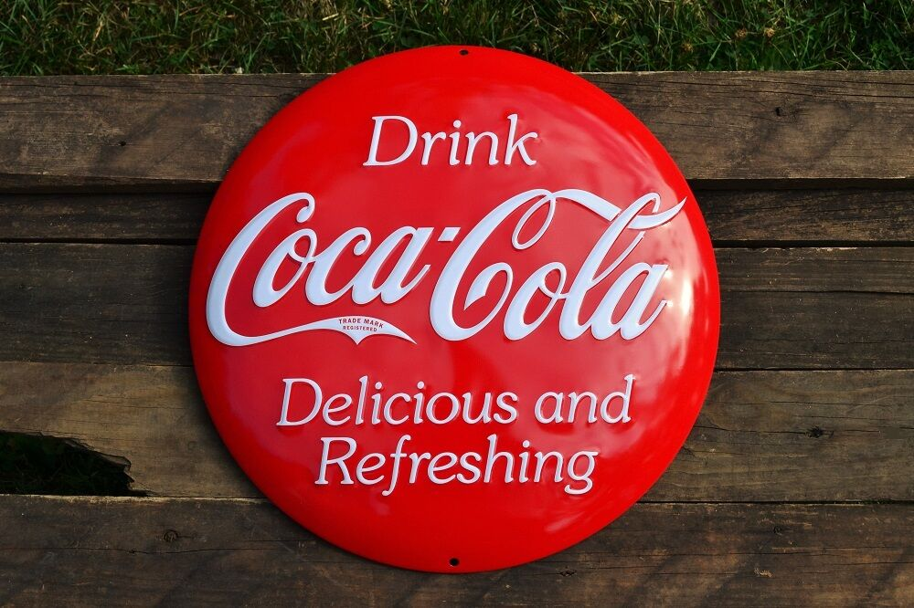 """Vintage Coke Retro 14.5/"""" Coca-Cola Domed Button Embossed Tin Metal Sign"""