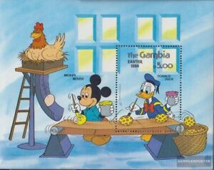 Never Hinged 1984 Walt-disney-fi Let Our Commodities Go To The World complete Issue Gambia Block9 Unmounted Mint