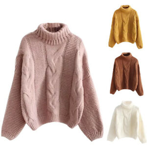 Details about Ladies Sweaters Jumpers Knitted Pullover Pure Turtleneck Long  Sleeve Casual Tops